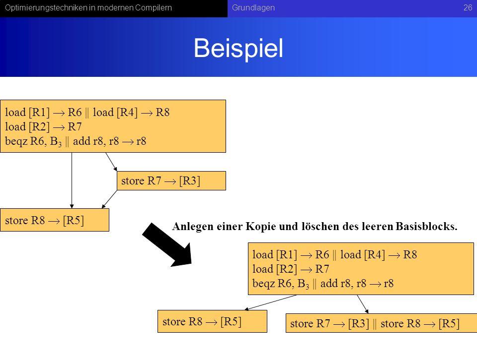 Beispiel load [R1]  R6 || load [R4]  R8 load [R2]  R7
